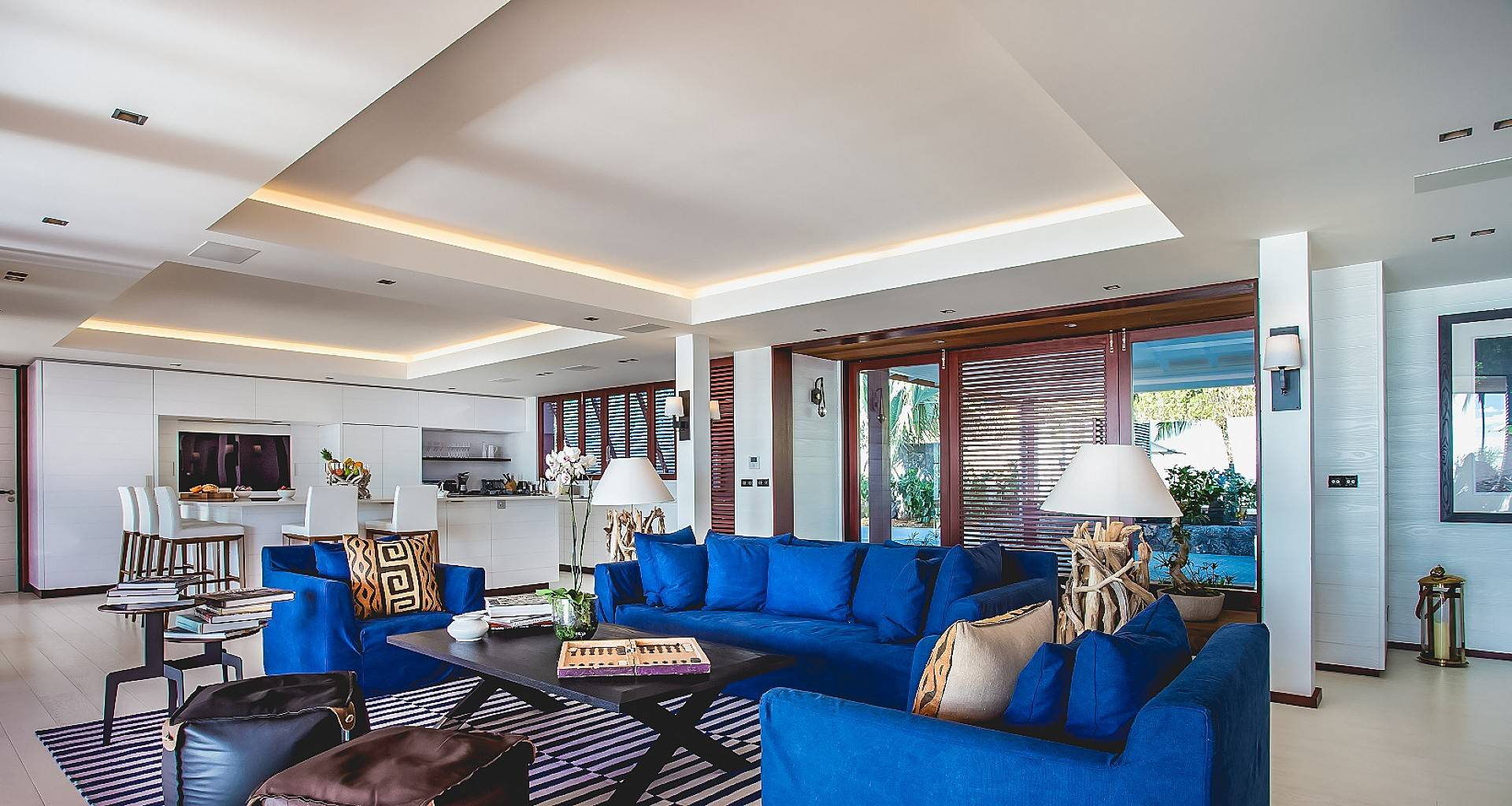 Villa Maison Blanc Bleu Living Area
