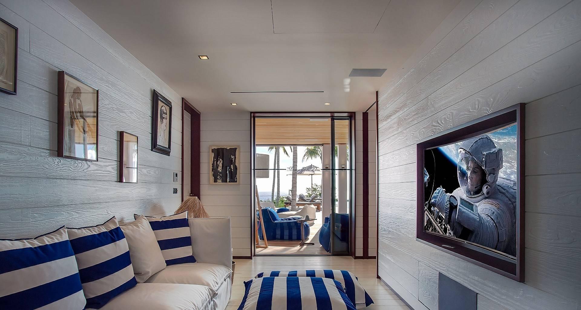 Villa Maison Blanc Bleu TV Room
